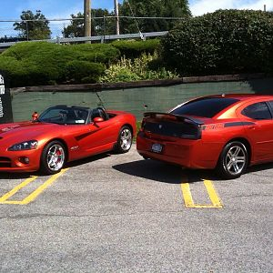 My Charger and a viper near my job...Same exact color, ridiculously hot!