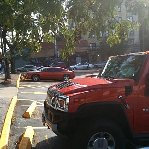 My Charger and an H2 hummer...I definitely should have moved my car closer